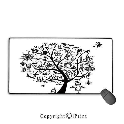 Mouse pad with Lock,Halloween Decorations,Sketchy Spooky Tree with Spooky Decor Objects and Wicked Witch Broom,Black White, Suitable for Offices and Homes,15.8