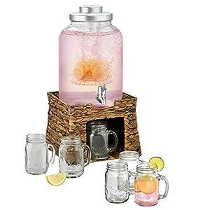 Artland Garden Terrace 3 Gal. Glass Bev Dispenser with Chiller/Infuser, Water Hyacinth Stand, and 6-Glass Mason Jar Mugs 15 oz.