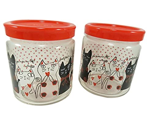 Cute Cat Glass Jar Bottle With Lid Cover Storage Container 14 Ounce Clear Red Black Polka Dots (Set of - 14 Oz Glass Jar