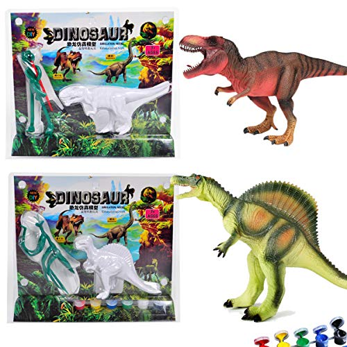 AINOLWAY 3D Painting Dinosaurs for Kids DIY Graffiti Toys - Decorate Your Own 2 Solid-Resin Dinosaur Arts Crafts ( A) -