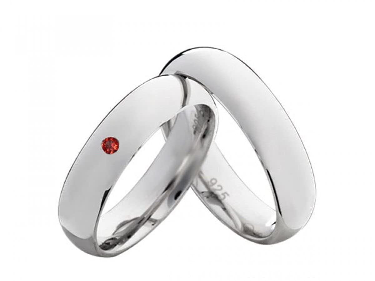 Partnerringe Verlobungsringe Trauringe Freundschaftsringe Verlobungsringe aus Silber 800 Granat mit Bunten Steinen und Kostenloser Lasergravur Costina Ringe800S-22160