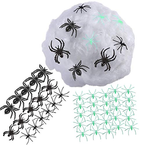 Almatess Halloween Decorations 60 Pcs 5 Different Spiders with 120g Halloween Spider Web Spider Cobweb for Halloween Decoration