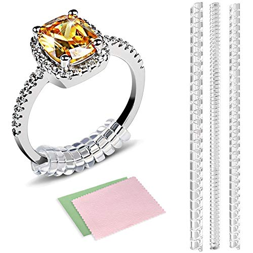 12 PCS Ring Size Adjuster,Ring Guard Ring Size Reducer for Loose Rings,3 Sizes for Any Rings with Jewelry Polishing Cloth (Ring For Noodle Bands Wide)