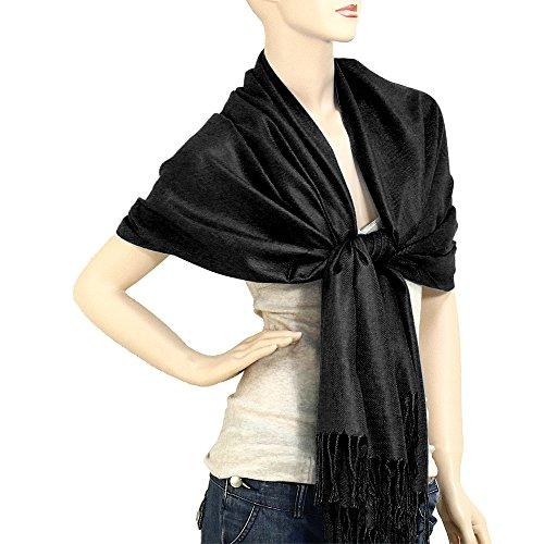 Falari Women's Solid Color Pashmina Shawl Wrap Scarf 80' X 27' Black