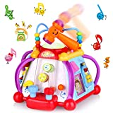 AOKESI Educational Baby Sit Up Toys, Musical Activity Cube Play Center with Realistic Sound and Colorful Lights, Multi-Function and Activities Skills for 1 Year Old Children Learning and Development