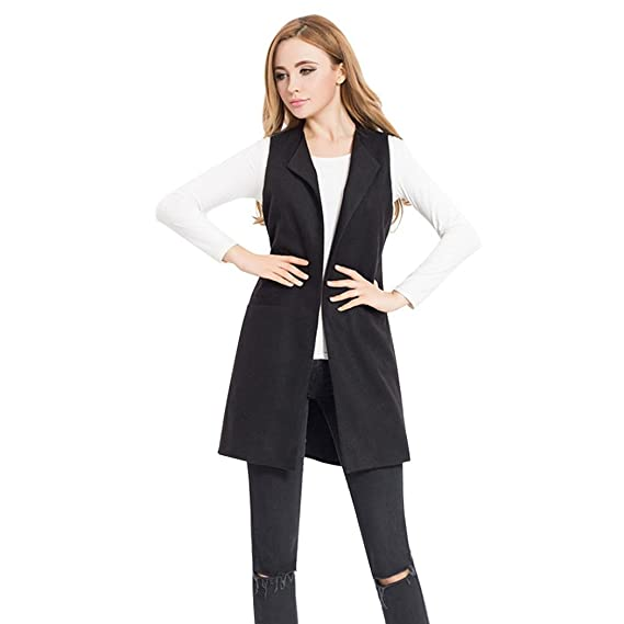 3bee1b3a68caea Womens Solid Casual Sleeveless Jacket Tops Waistcoat Vest Gilet Ladies  Spring Autumn Stylish Cardigan Sleeveless Garment Outwear  Amazon.co.uk   Clothing