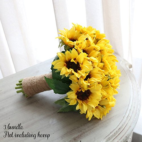 1 Bouquet Home Party Decor Display Artificial Silk Flower Simulation Sunflower Bouquet DIY artificial Fowers (6pcs, Yellow)