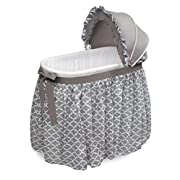 Badger Basket Wishes Oval Bassinet Full Length Lantern Skirt, Gray/White