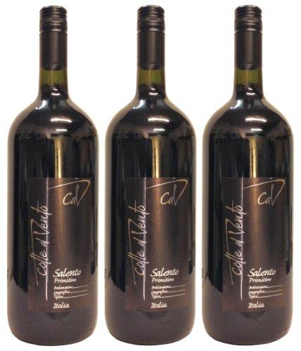 Primitivo Salento IGT Colle al Vento trockener Rotwein 14 % Vol 3 x 1,5 L Magnum Flasche