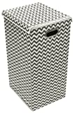Sorbus Laundry Hamper Sorter with Lid Closure – Foldable Hamper, Detachable Lid, Portable Built-In Handles for Easy Transport – Single (Printed Chevron Gray Interior)