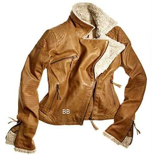 World of Leather Women Lambskin Leather Jacket Fur Biker ...