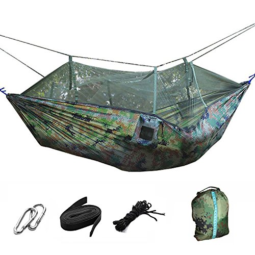 Lightweight Portable Foldable Double Camouflage Parachute Hammock Tent with Mosquito Net Hanging Bed for Outdoor Military Camping Hunting Backpacking Travel Include Tree Straps Hooks Storage (Camo Bug)
