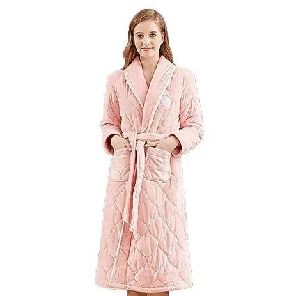 Albornoz Pijamas para Mujer Toalla De Baño Bata Coral Fleece Franela Togas Acolchado Cálido Servicio De