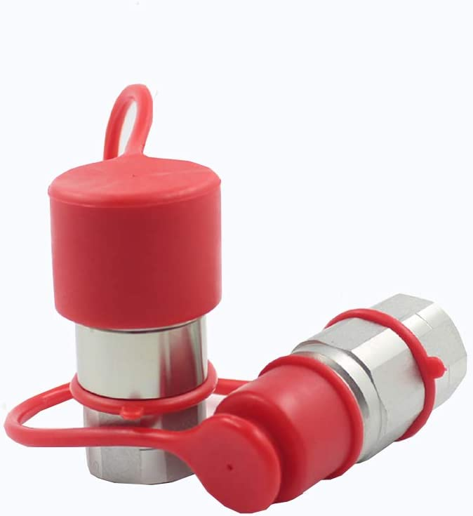 LSQ-FF-04 1//2 Skid Steer Bobcat Flat Face Hydraulic Quick Disconnect Coupling NPT1//2 Set Quick Connect Couplers with Red Dust Caps