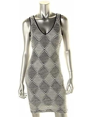 Guess Womens Gemma Navy Textured Sleeveless Knee-Length Casual Dress 6