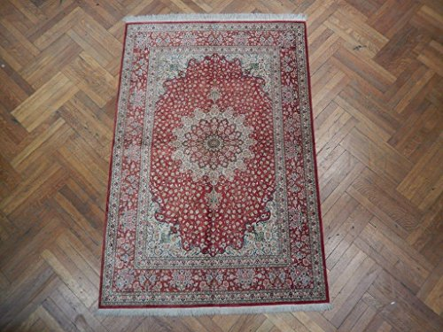 Sharp Vivid Red Handmade 4x7 Fine Silk Persian Qum Rug Qum Silk Rugs