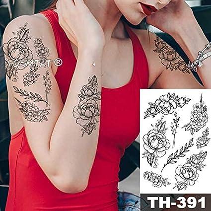 HXMAN 5 Unids Rosa Peonía Rosa Flor Impermeable Tatuaje Temporal ...