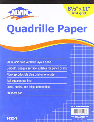 Alvin 1432-1 Quadrille Paper 4x4 Grid 50-Sheet Pad 8.5 inches x 11 inches