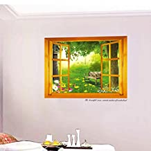 3D Fake Window Spring Forest Wall Decal PVC Home Sticker House Vinyl Paper Decoration WallPaper Living Room Bedroom Kitchen Art Picture DIY Murals Girls Boys kids Nursery Baby Playroom Decor