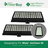 2 - Miele Active AirClean 30 HEPA Filters, Part # AAC30 & SFAA30. Designed by FilterBuy to fit Miele models S7000-S7999, S2000-S2999, S300i-S858i.