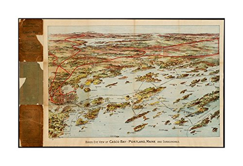 1906 Map Casco Bay Birds eye view of Casco Bay, Portland, Maine, & surroundings Bird's-eye view.Shows Maine Central Railroad & steamship lines.Cumberland Maine|Ready to Frame|Historic - Audrey Diy Costume Hepburn