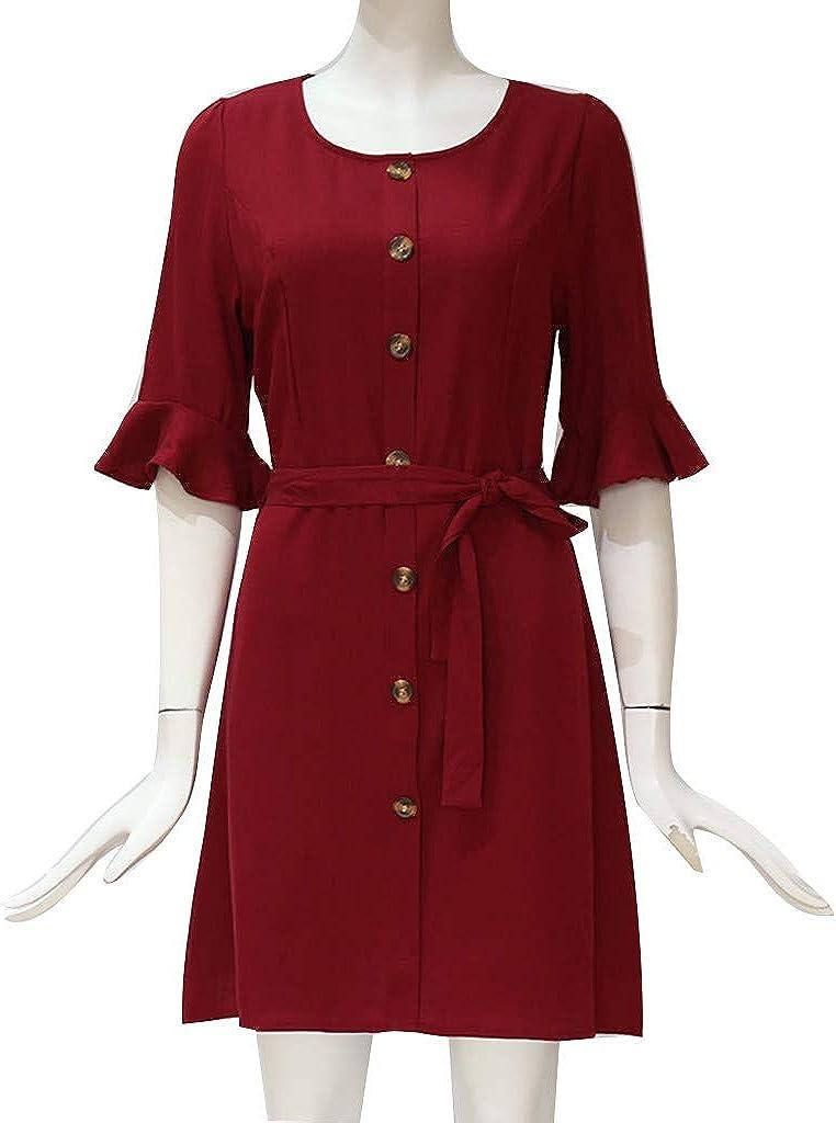 yoyorule Women Casual Top /& Dress Fashion Women Casual Half Sleeve Solid Square Collar Button Belt Mini Dress