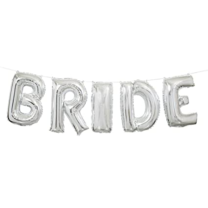 Amazon Com Foil Silver Bride Wedding Letter Balloon Banner Kit