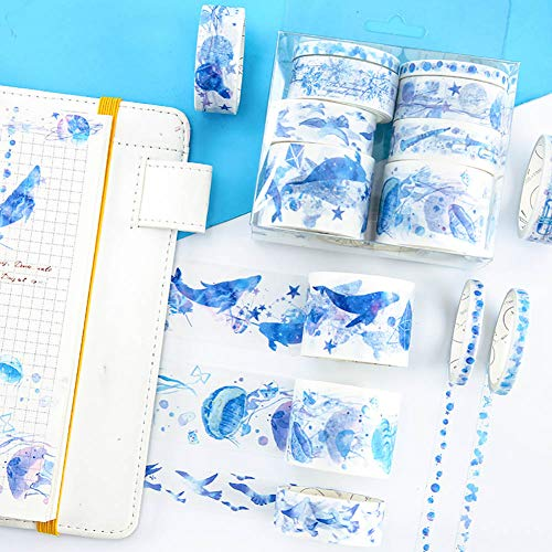 Blue Moon Scrapbooking - Romantic Blue Washi Masking Tape Set 8 Rolls Kawaii Whale Jellyfish Starfish Water Grass Moon Phase Starlight Bubble Planet Scrapbooking Diary Album Journal Planner Gift Wrapping DIY Label Sticker