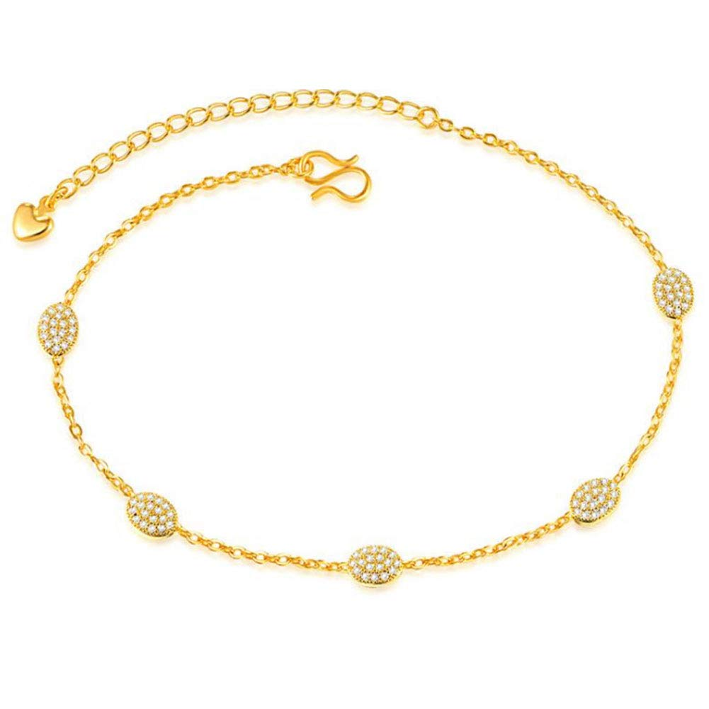 Mmiiss Rolo Chain Anklets for Women with 5 CZ Stone Anklet 18K Yellow Gold Ankle Bracelet for Beach Adjustable (style2)