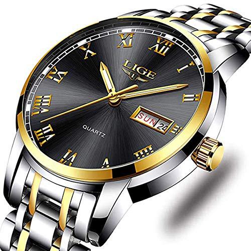 Watches Men Fashion Sport Waterproof Analog Quartz Wristwatch Men Luxury Brand LIGE Chronograph Watch Gents Silver Stainless Steel Black Business Clock