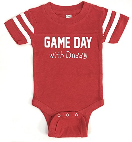 Lavender Rain Designs Game Day With Daddy Ultra Soft Baby Jersey-Style Bodysuit (6 Months, Red Heather) (Ultra Game Jersey)