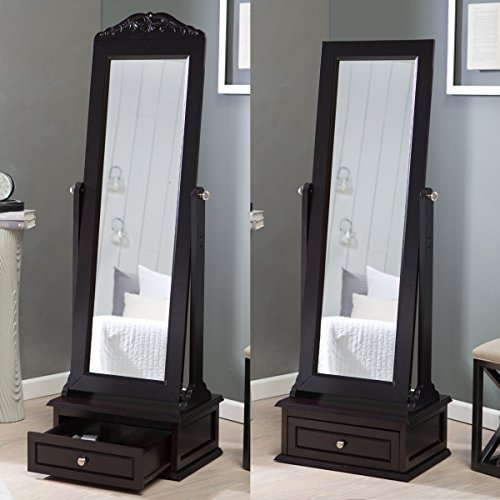 Premium Cheval Floor Mirror - Full Length Standing Dressing Grooming Tilting Bedroom Home Furniture Storage Drawer Organizer with Removable Decorative Top -
