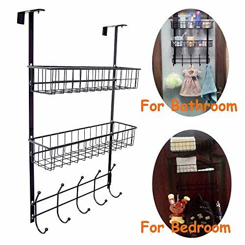 Over the Door Hook Hanger Three Tiers with 10 Hooks and 2 Mesh Basket Adjustable Storage Rack Wall Hook for Coats Hats Robes Towels Overdoor Hat Rack