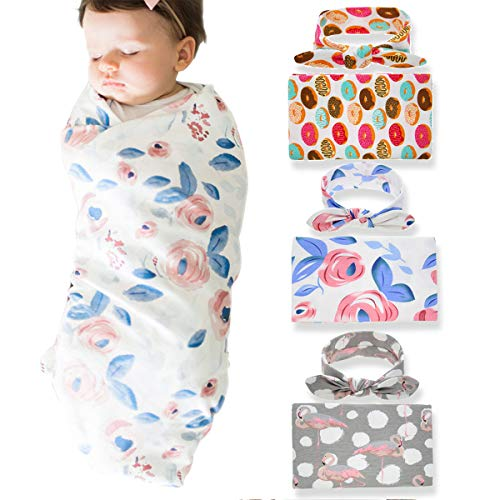 3 Pack BQUBO Newborn Floral Receiving Blankets Newborn Baby Swaddling with Headbands or Hats Sleepsack Toddler Warm