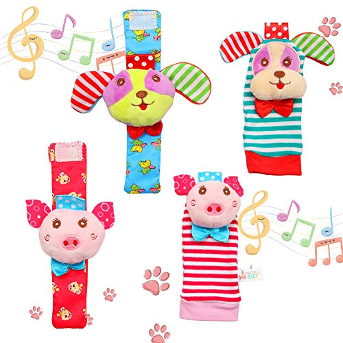 FunsLane Baby Rattle, Baby Wrist Rattles and Foot Finder Socks Toy Set, Educational Development Soft Animal Toy Shower Gift with Puppy and Piggy, 4 ()