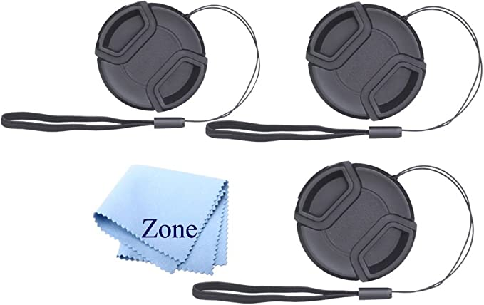 Lens Cap Keepers included Lens Cap Bundle 62mm 2 Snap-on Lens Covers for DSLR Cameras including Nikon Sony Canon