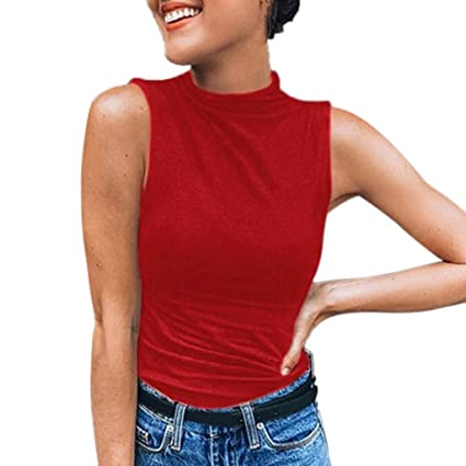 a0ef2e283d3835 Amazon.com: Women's Sleeveless Slim Fit Turtleneck Mock Soft T-Shirt Tank  Tops Basic Stretchy Pullover: Arts, Crafts & Sewing