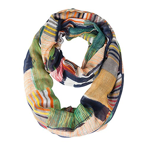 (MissShorthair Women's Light Weight Colorful Painting Plaid Tartan Infinity Scarf (Turquoise))