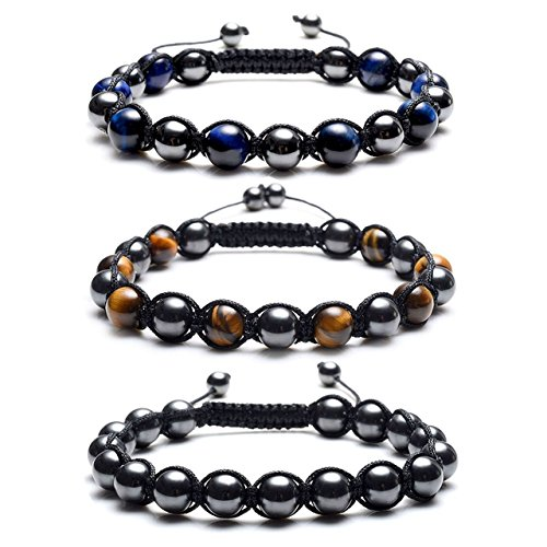 Top Plaza Men's Women's Reiki Healing Energy Natural Tiger Eye Stone Magnetic Hematite Therapy Beads Macrame Adjustable Braided Link Bracelet(Set Of 3) by Top Plaza (Image #1)
