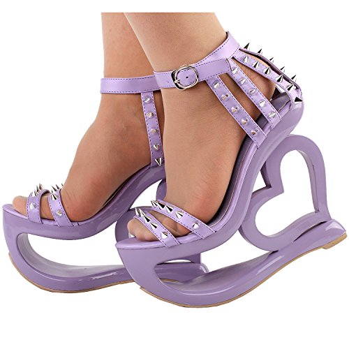 Show Story Punk Black Spikes Strappy Heart Heel Wedge Evening Sandals,LF40204 Purple