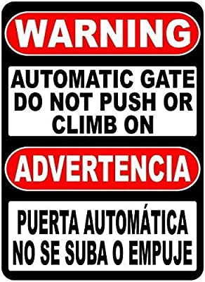 Bilingual Warning Automatic Gate Do Not Push Or Climb On Sign Decorative Metal Sign for Road Tin Art Decor Aluminum Tin Sign