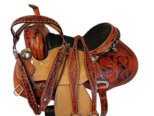 Custom Barrel Saddle - 15 16 Western Racer Show Trail Pleasure Tooled Leather Western Barrel Saddle Set (15 Inch)