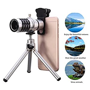 12X Optical Phone Camera Lens with Tripod, Hizek Manual Focus Telescope Zoom Kit with Cellphone Stand Sliver+Tripod