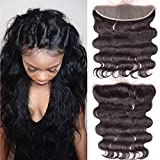 Ear To Ear 13x4 Full Lace Frontal Closure Free Part Unprocessed Brazilian Virgin Hair Body Wave Human Hair Extensions Top Full Frontal Lace Closure With Baby Hair Bleached Knots Natural Color (22inch)