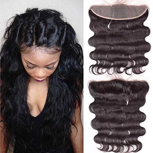 Ear To Ear 13x4 Full Lace Frontal Closure Free Part Unprocessed Brazilian Virgin Hair Body Wave Human Hair Extensions Top Full Frontal Lace Closure With Baby Hair Bleached Knots Natural Color (14inch)