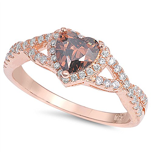 Oxford Diamond Co Sterling Silver Heart Halo Simulated Gemstone Promise Ring Sizes 7 Champagne Diamond Simulated Ring