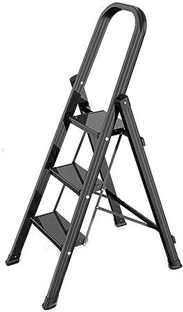 Taburete Escalera Taburete Plegable Escalera Plegable Deslizante de Seguridad del hogar Escalera de Aluminio Taburete con manija Portable 150kg Carga de Peso (Color : Black): Amazon.es: Hogar