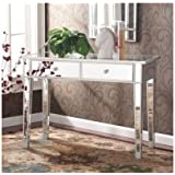 Mirrored Entry Table Modern for Entrance, Foyer, Hallway Glass Vanity Accent