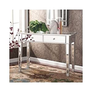 Elegant Mirrored Entry Table Modern For Entrance, Foyer, Hallway Glass Vanity Accent