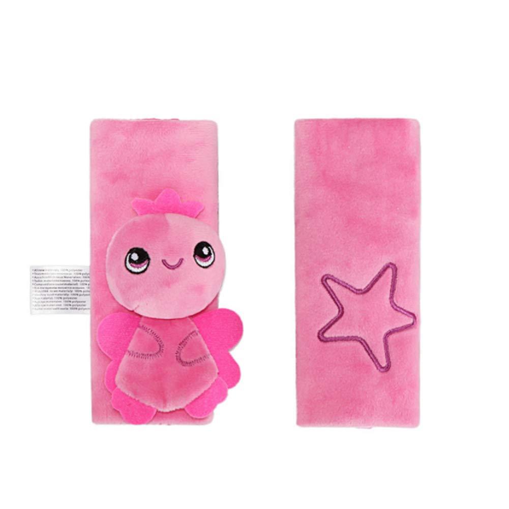 Newin Star Almohadillas para Cinturón de Seguridad, Protector de cinturón, Cinturón de Seguridad Cojín de Coche, Ajustable Protectores para la Cabeza para bebé (rosa)